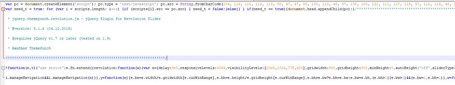 exemplu de script malware wordpress